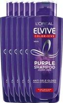 L'Oréal Paris Elvive Color Vive Purple Zilver Shampoo - 6 x 200 ml - Voordeelverpakking