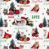Poezen - Luxe kerstpapier - Inpakpapier - Cadeaupapier - 300 x 70 cm - 5 rollen