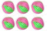 6 Stuks Anti-Pluis Wasbal / Nylon Wasmachine Ballen Bollen / Wasballen Wasbol Was Bal Ballen / Pluisballen / Set - Roze | Groen