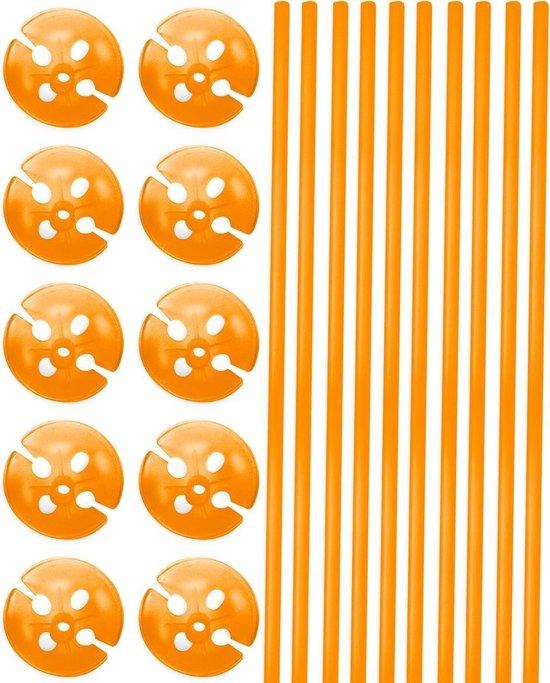 Oranje Ballonstokjes met Houders - 10 stuks