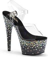 Pleaser Sandaal met enkelband -36 Shoes- STARSPLASH-708 US 6 Zwart