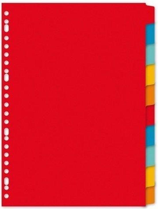 Afbeelding van Kartonnen tabbladen A4 - 10 stuks - 23 rings/gaats - Gekleurde tabbladen