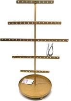 Sieradenhouder - Display voor Sieraden - Oorbellenrek - Metaal - 35x24x17 cm - Goudkleurig - Dielay