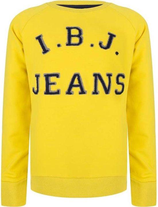 Indian Blue Jeans sweater met logo donkerblauwgeelgrijs
