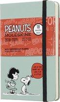 Moleskine Wochen Notizkalender, Peanuts, 18 Monate, 2018/2019, Pocket/A6, Hard Cover, Grün