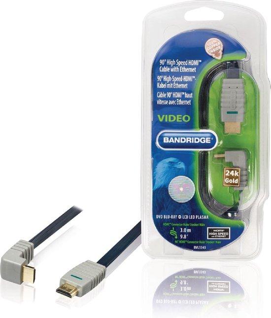 Bandridge HDMI 1.4 High Speed with Ethernet kabel haaks naar beneden - 3 meter
