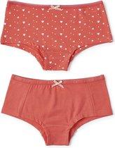 Little Label - meisjes - onderbroek (2 stuks) - roze en roze hartje ster - maat 158/164 - bio-katoen