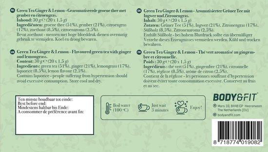 Body & Fit Food Groene Thee - Met citroen en gember - 1 verpakking (20 zakjes)