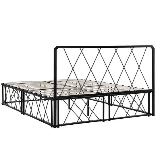 [en.casa]® Metalen bedframe en lattenbodem - 140x200-zwart - en.casa