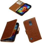 Bruin vintage lederlook hoesje voor Samsung Galaxy S5 Neo G900F Wallet Case - Booktype - Telefoonhoesje - smartphonehoesje - beschermhoes.