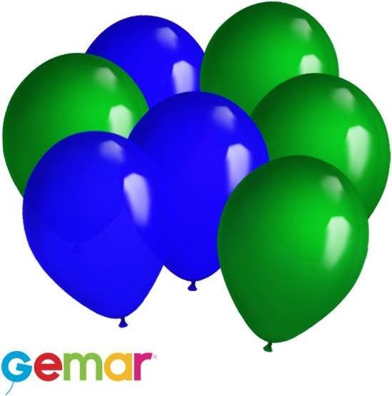 30x Ballonnen Groen en Blauw (Ook geschikt voor Helium)