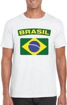 T-shirt met Braziliaanse vlag wit heren 2XL