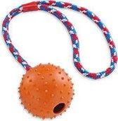 Nobby rubber bal met touw plus bel mix - 7 cm