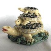 Feng Shui schildpad 3 in 1 ivoorkleur lang leven & veel geluk 11x6.5x8cm