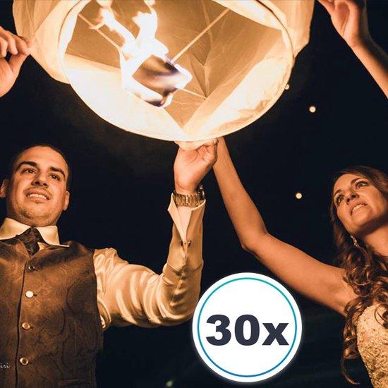 30 x Witte Wensballonnen vliegende papieren lantaarns ufo ballon zweeflantaarn VOLANTERNA®