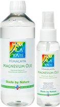 Magnesiumolie van Himalaya magnesium   Magnesiumolie spray 100 ml   Magnesiumolie 500 ml navulfles   Magnesiumspray Magnesiumchloride Spierolie voordeelpakket