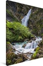 Waterval in het Oostenrijkse Nationaal park Hohe Tauern Canvas 80x120 cm - Foto print op Canvas schilderij (Wanddecoratie woonkamer / slaapkamer)