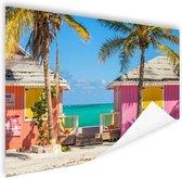 Kleurrijke strandhutjes Caraiben Poster 180x120 cm - Foto print op Poster (wanddecoratie) XXL / Groot formaat!