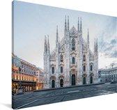 De Kathedraal van Milaan in Italië Canvas 140x90 cm - Foto print op Canvas schilderij (Wanddecoratie woonkamer / slaapkamer)