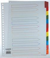 Class'ex tabbladen wit 23-gaatsperforatie 12 gekleurde tabs