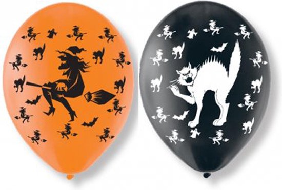 6 latex katten en heksen ballonnen - Feestdecoratievoorwerp