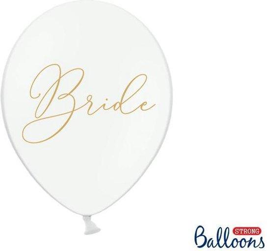 Ballonnen wit Bride goud 50 stuks