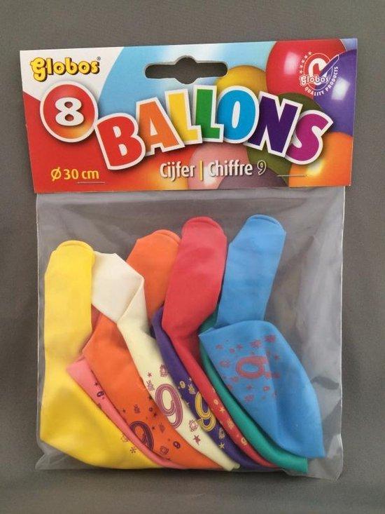 9 jaar ballonnen 8 stuks