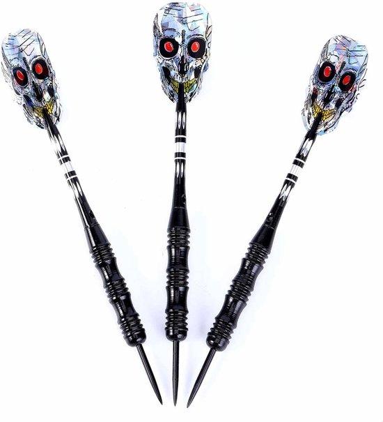 Thumbnail van een extra afbeelding van het spel #DoYourDart - 3x Steeltip dartpijlen - nikkelen barrel - plastic shafts, flights incl. Dartetui - 22g totaal gewicht pijlen - zwart