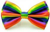 Regenboog vlinderstrik van satijn - Gestreepte vlinderdas in regenboogkleuren - Verstelbaar in maat