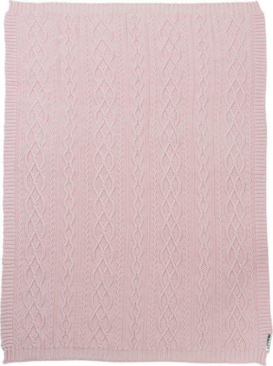 Meyco Silverline Stonewashed Cable ledikantdeken - 100x150 cm - roze