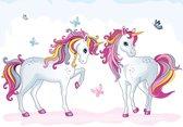 Fotobehang met 2 Unicorns XXL – kinderkamer – posterbehang – behang eenhoorns - 368 x 254 cm – roze
