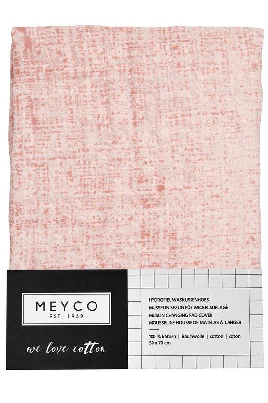 Meyco hydrofiel aankleedkussenhoes Fine lines - oudroze/lichtroze