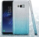 Samsung Galaxy S8 Plus Hoesje - Glitter Backcover - Blauw & Zilver