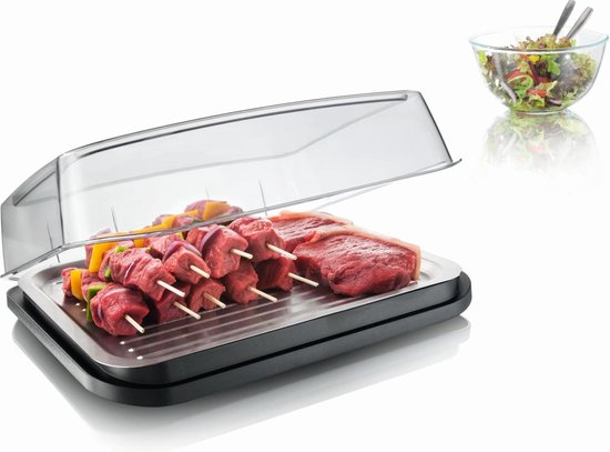 VacuVin Tomorrow's Kitchen Vlees/Vis Cool Plate - RVS - Grijs