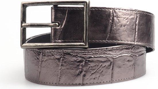 Modern Donker Zilveren Leren Riem | Handgemaakt | Zilverkleurige Gesp | 95 cm