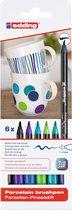 edding Porseleinstiften - 6 koele kleuren porseleinstiften - Flexibele, penseelvormige punt