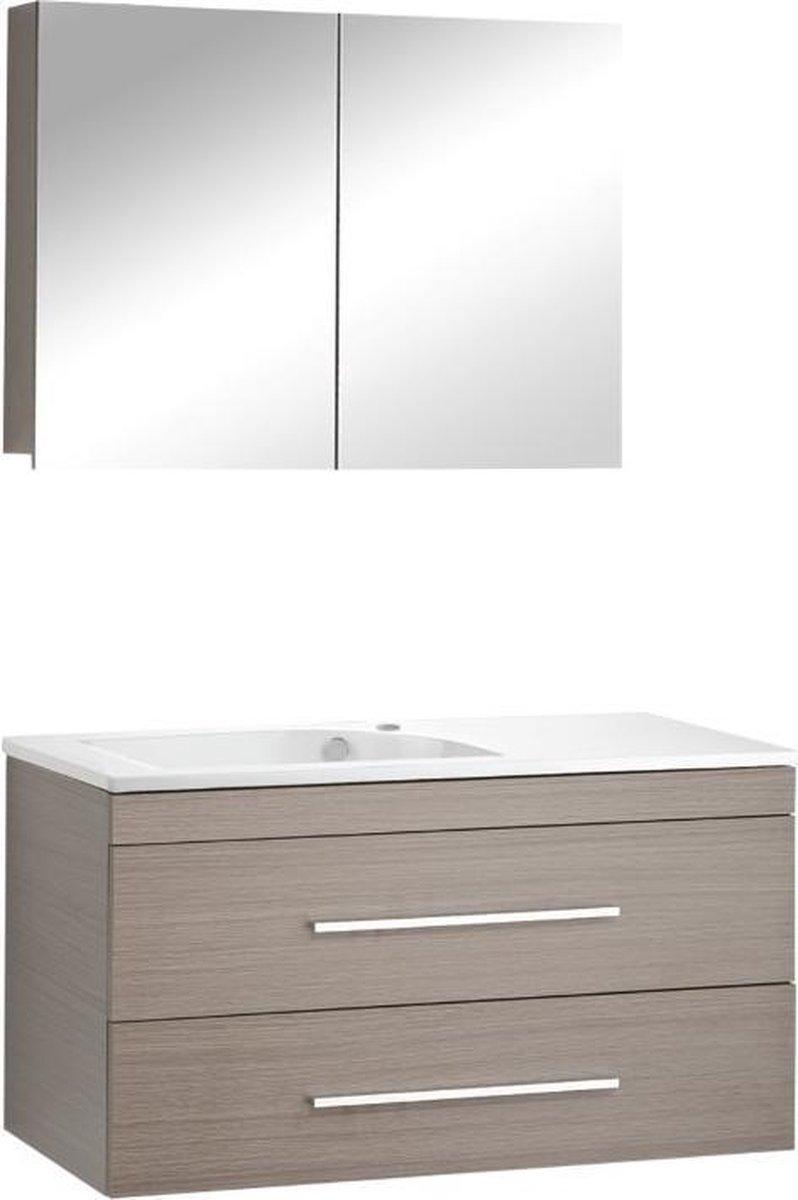Differnz Style Badkamermeubel - 100 cm - Kraangat rechts - Grijs eiken