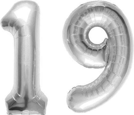 Cijfer 19 Zilver Folieballon 86 cm Excl. Helium
