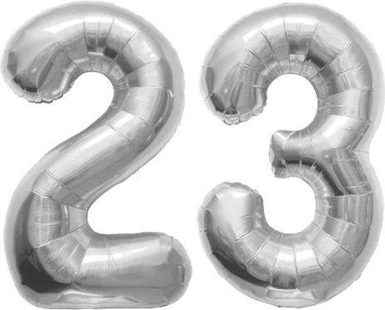 Cijfer 23 Zilver Folieballon 86 cm Excl. Helium
