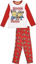 """Minions - 2-delige Pyjama-set - Model """"Minions Mania"""" - Rood / Wit - 128 cm - 8 jaar"""