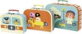 Vilac kofferset voor kinderen 3-delig met leuke illustraties.