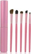 5-delige Make-up Kwasten/Brush Set + Koker - Roze | Fashion Favorite
