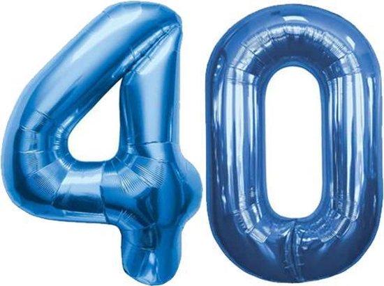 Cijfer 40 Blauw Helium 86 cm Excl. Helium
