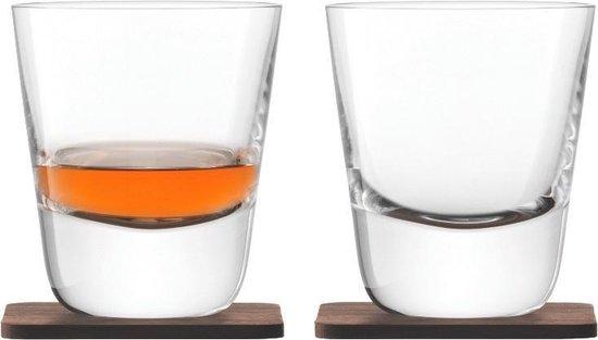 L.S.A. Arran Whiskeyglazen - 250 ml - Set van 2 Stuks - Incl. Walnoten Onderzetters