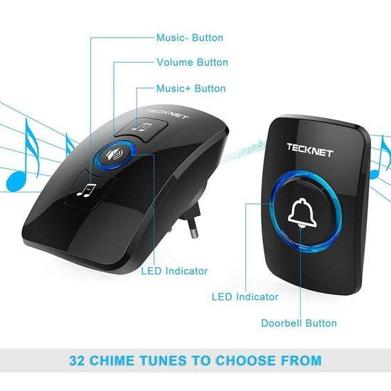 TeckNet Draadloze Deurbel met 1 Ontvanger - Plug&Play - Regelbaar Volume / Melodie / Oplichtende LED's - Tecknet