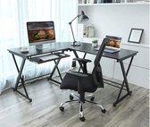MIRA - Groot L-vormig bureau met metalen frame | 150x138x75cm | Apple | Macbook | Laptop | Zwart