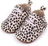 Leren Babyschoenen met Veters en leuke Dalmatiërprint 6-12 maanden