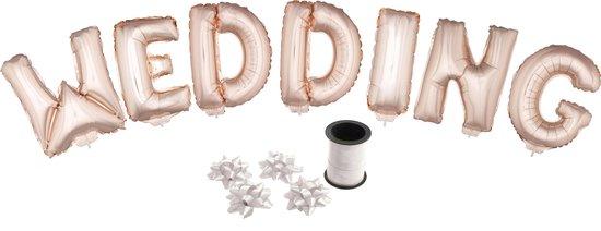 Folie ballonset roze met letters WEDDING 41 cm + geschenklint 10m met 4 witte strikken