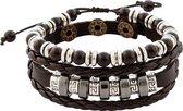 Zwart gevlochten leren armband uit Tibet met kralen in lengte verstelbaar - 17 - 18 en 19 cm