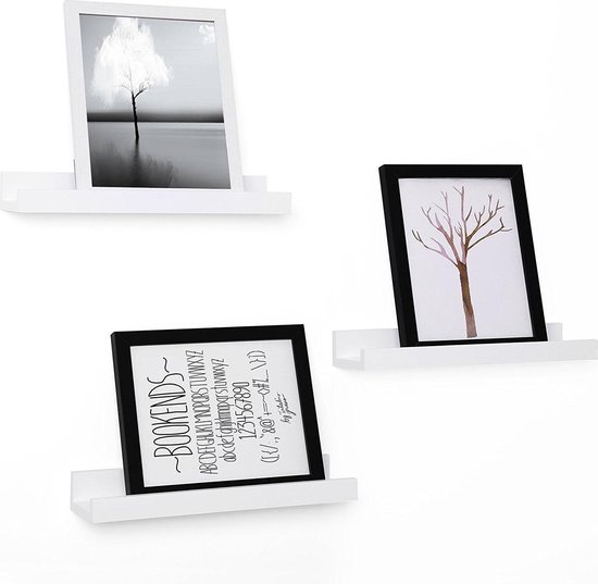 Zwevende Blinde Muurplank Set - Wand / Muur Foto Boekenplank - Zwevend Hoogglans Wit